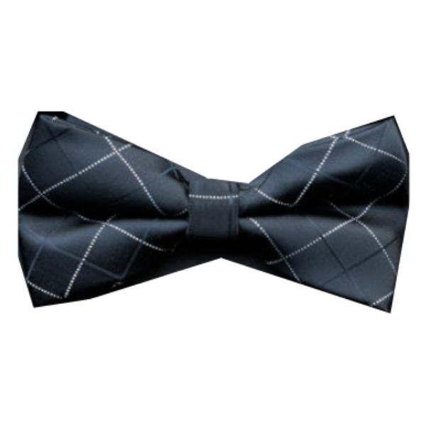 Black Bow Tie With Check Design - Paw Prints & Curly Tails