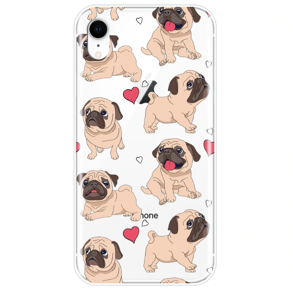 Novelty Dog Phone Case for iPhone XR - Paw Prints & Curly Tails