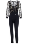 Black Sequin Embellished Mesh Top Jumpsuit