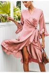 Green Flare Sleeve Wrap Satin Ruffle Dress