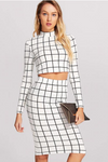 Plaid Pencil Skirt Crop Top Black and White Set