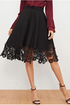 Flare Skirt High Waist Black Laser Cut
