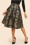 Black Gold Flower Print Flare Skirt