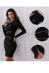 Eye Candy Zippered Black Bandage Dress