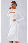 Sultry Bodycon Bandage Dress White Long Sleeve