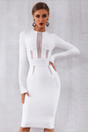 Tease Me White Bandage Dress Long Sleeve