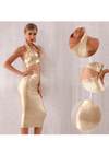 Gold Bodycon Two Pieces Set Dress