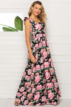 Flower Print Long Maxi Dress