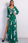 Sultry Chic Deep V Two Split Print Dress