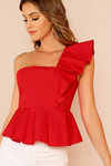 Red One Shoulder Ruffle Trim Peplum Top
