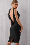 Sultry Eyes Backless Black Bodycon Dress