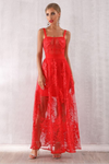 Passion Night Red Lace Maxi Dress