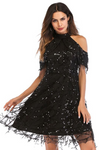 Black Sequin Tassel Strapless Dress