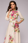 FLoral Joy Half Lantern Sleeve Long Dress