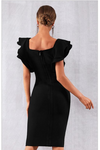Intrigue Bandage Ruffles Butterfly Sleeve Dress