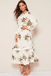 Vino Life White Floral High Waist Dress