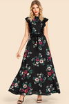 Beauty Day Belted Ruffle Trim Flower Print Dress