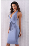 Deep V Neck Bow Bodycon Dress