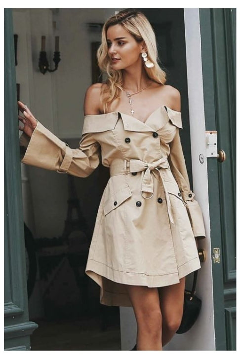 check out 5e8e9 82abc Sexy Off Shoulder Elegant Trench Coat – DOXARY