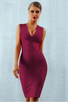 Wine Red Bandage Deep V-Neck Bodycon Dress