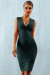 Black Bandage Deep V-Neck Bodycon Dress