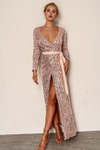 Pink High Slit Long Sleeve Sequin Maxi Dress