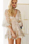 Gold Polka Dot Backless Mesh Sequin Mini Dress