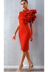 Red Bodycon Ruffles Midi Bodycon Dress Sleeveless