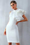White Bodycon Ruffles Midi Bodycon Dress Sleeveless