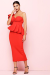 Red Bodycon Midi One Shoulder Ruffle Dress