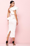 Pink Bodycon Midi One Shoulder Ruffle Dress