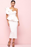 White Bodycon Midi One Shoulder Ruffle Dress