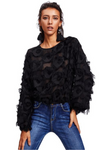 Black Mesh Blouse Top Long Sleeve Patch