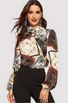 Multicolor Retro Print Top Long Sleeve