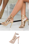 Gold Gladiator Heels Ankle Strap Sandals