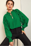 Green Long Sleeve Tie Neck Blouse