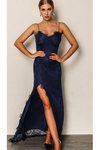 Blue Bodycon Backless Lace Maxi Dress