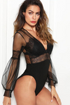 Black Sheer Lace Plunge Neck Bodysuit