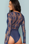 Blue Floral Embroidery Sheer Lace Bodysuit