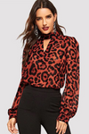 Leopard Print Keyhole Neck Bishop Sleeve Top