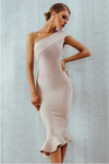 Bodycon Dress Ruffles One Shoulder Bandage