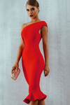 Red Bodycon Dress Ruffles One Shoulder Bandage
