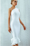 White Bodycon Dress Ruffles One Shoulder Bandage