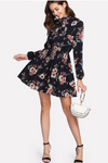 Black Floral Dresses Tie Neck Dress