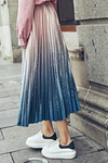 Velvet High Waist Long Pleated Midi Skirt