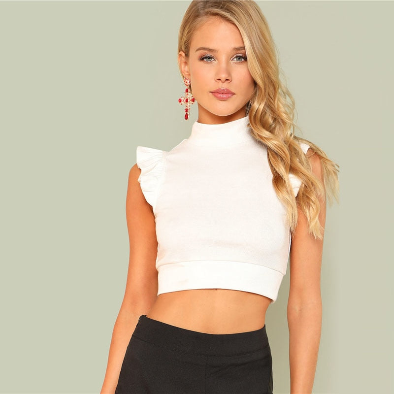 a58ce42d8f3 Ruffle Crop Top White Stand Collar Top – DOXARY