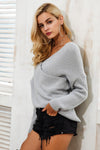 Long Sleeve V Neck Cross Front Sweater