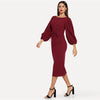 Burgundy Tie Waist Lantern Sleeve Dress
