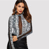 Grey Snake Pattern Mesh Top