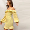 Yellow Ruffle Off Shoulder Lantern Sleeve Dress